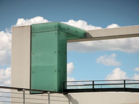 glas: beton st�tze mit Glas Stock Photo