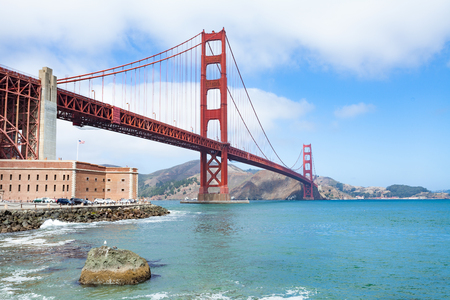 Golden Gate Bridge with Fort Point in the foreground, San Francisco, California