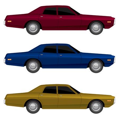 Vintage vector cars Illusztráció