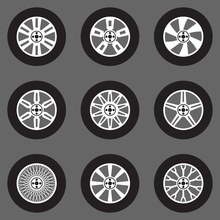 wheel change: Tires vector set