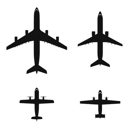 Black top view airplanes vector icon set