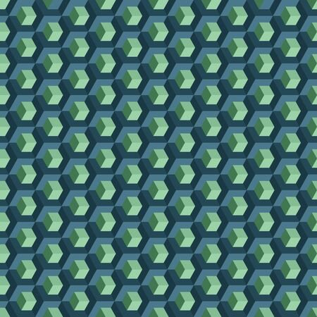 Blue and green cubes three dimensional pattern Vector