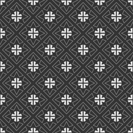 grey pattern: White and grey triangles on dark background. Seamless pattern Illustration