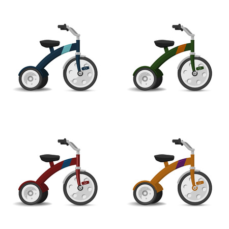tricycle: Kids tricycle vector set Illustration