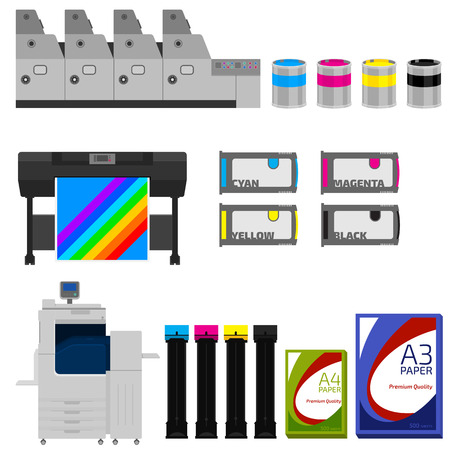 Color print equipment vector set