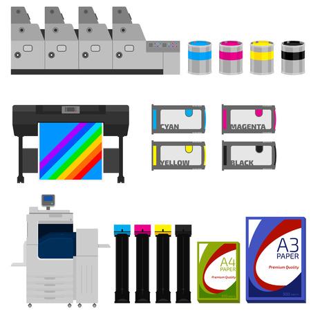 imprenta: Equipos de impresi�n en color conjunto de vectores