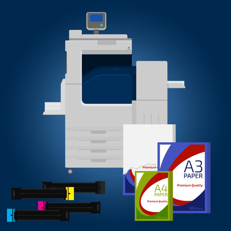 multifunction printer: Laser copier with paper. Cartridge and pack of paper