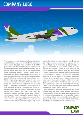 boeing: Flyer template with climbing aircraft Illustration