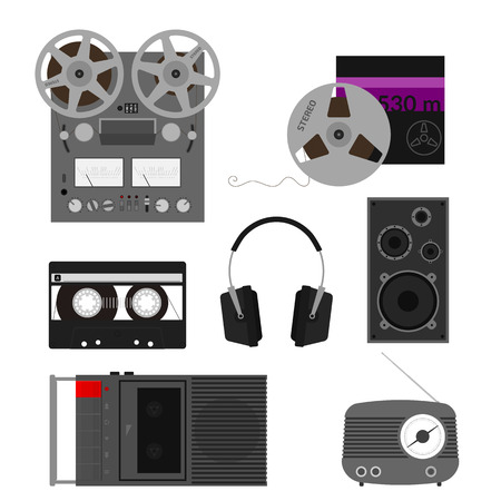 compact cassette: Set of retro audio device and equipment.