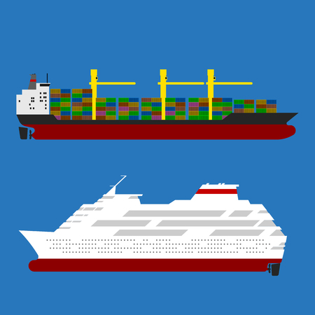 seaway: Cargo ship with containers and cruise liner