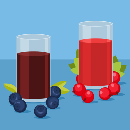 red currant: Glass of blueberry and red currant juice with berries