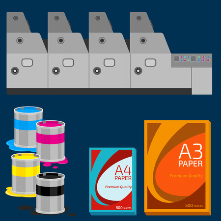 four color printing: Offset equipment, paint and paper