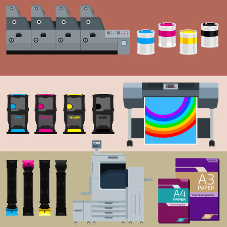 commerce and industry: Set of polygraphic machines and equipment Illustration