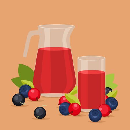 red currant: Juice in glass and in carafe. Red currant, blueberry and blackberry on background.