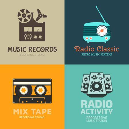 recording studio: Set of vector   templates. Recording studio, radiostation. Labels, badges