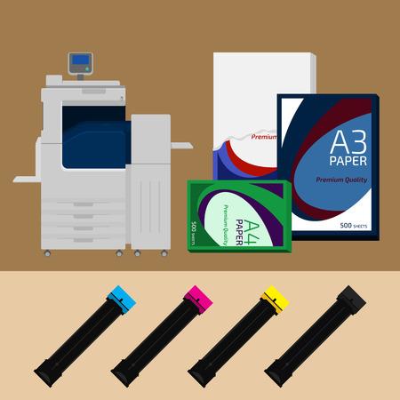 La machine d'impression numérique, la cartouche et papier