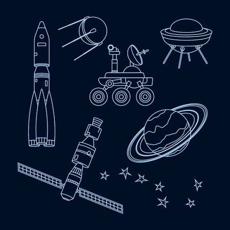 lunar rover: Set of outlines space object and equipment