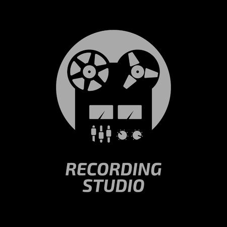 Recording studio logotype template. Black reel tape recorder on whute circle and dark background.