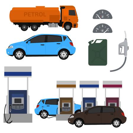 petroleum: Petroleum station vector set. Illustration
