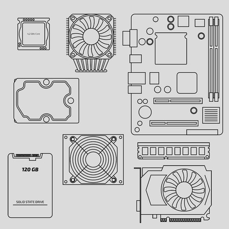 Vector computer components. Graphic card, central processor unit, memory, hard disk device, motherboard and cooler fan design. Modern device icon.