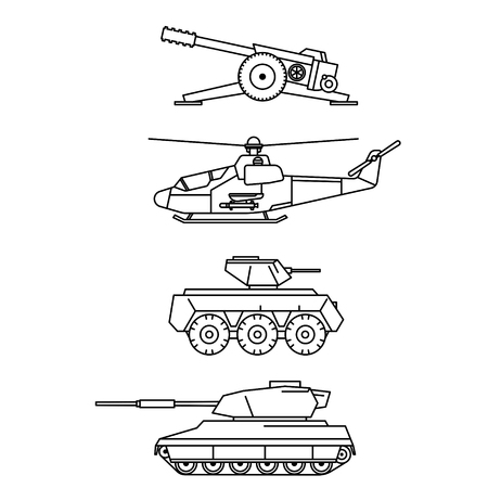 armored: Military vector set. Outline cannon, helicopter, armored troop-carrier and tank design. Weapon icon collection. Illustration