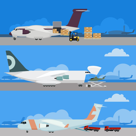 airfield: Vector airplanes in airport. Cargo air transport illustration. Airfield with loading aircrafts. Delivery by air. Big jet planes logistic design.