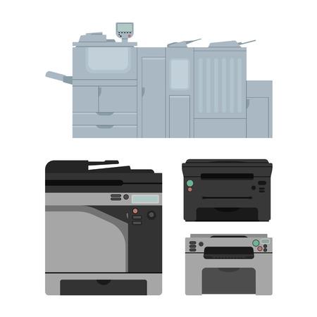 Zestaw kolorowych drukarek laserowych w wektorze. Cyfrowa konstrukcja maszyny drukującej. Kolor urządzenia kopiowania i drukowania. Kolekcja sprzętu biurowego.