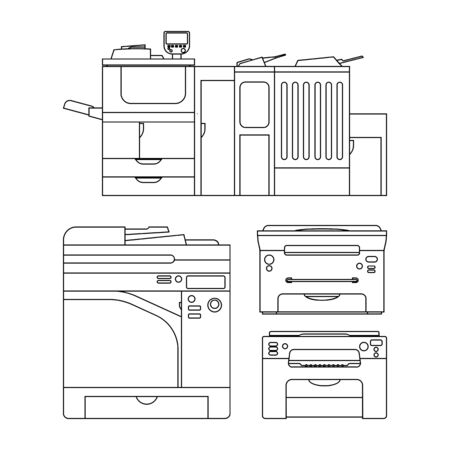 impresora: Vector esboza ilustración de la impresora para la web, prensa y otro diseño. Conjunto de iconos. Vectores
