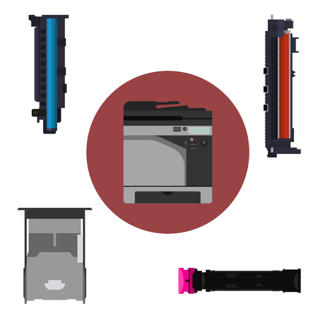 multifunction printer: Laser printer and print equipment set. Cartridge, toner and paper tray design.