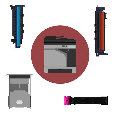 Laser printer and print equipment set. Cartridge, toner and paper tray design.