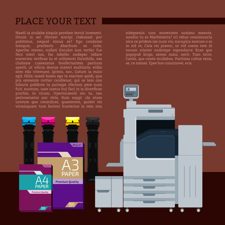 color printer: Laser color printer. White format paper for print. Cyan, magenta, yellow and black cartridge. Info graphics elements. Details for sign and labels. Equipment for office work. Copy and scan machine.