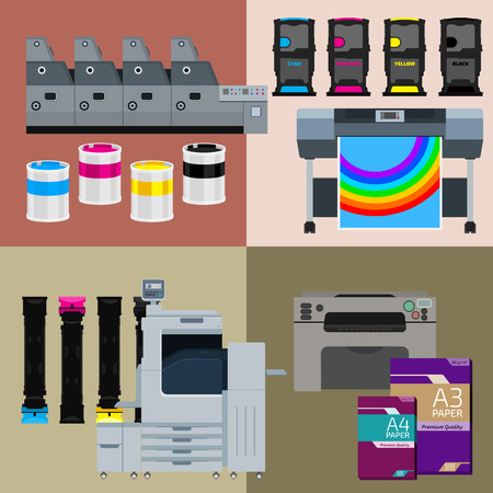 Printing equipment. Color printer. Cyan, magenta, yellow, black pant. Color Ink and cartridge. Paper for laser and ink print. Copy and scan. Laser, ink, offset machine. Vector press industry.