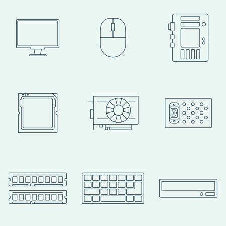 mother board: Computer components outline icons set. Vector pictogram of electroinc accessories for print and web design.