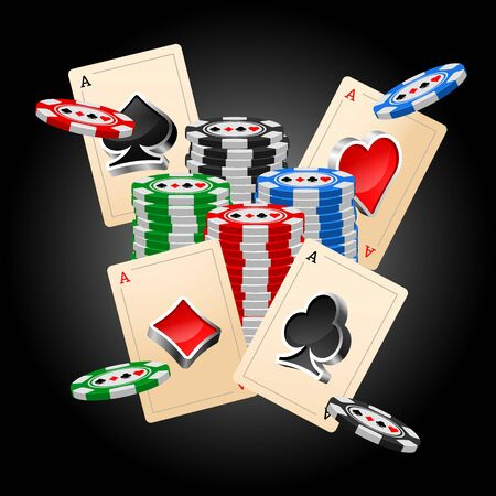 poker chips: Four aces and poker chips vector illustration with three dimensional suits.
