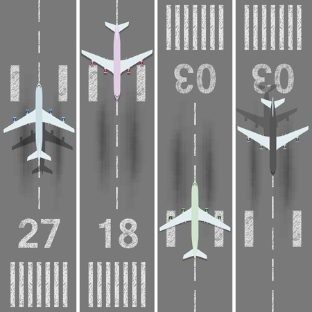 Takeoff and landing airplanes set. Runway with jet aircraft top view. Airport elements. Instrument landing system scheme. Airport label, sign and mark.