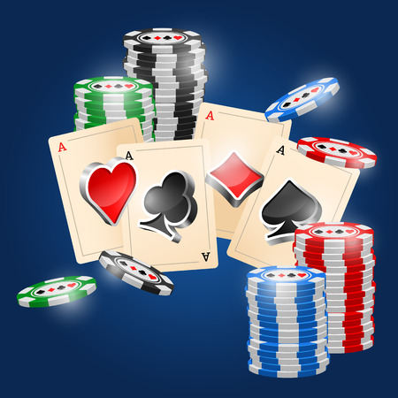 cards poker: Four aces and poker chips vector illustration with three dimensional suits.