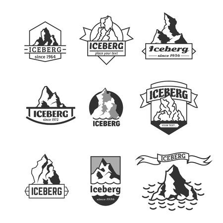 peaks: Iceberg logo set. Vector emblem collection