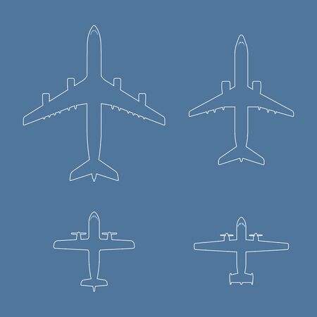 liners: Airplane icons collection. Outline aircraft shapes set. Jet and propeller airliners. Blue background with vector liners. Black line passenger airplane illustration. Illustration