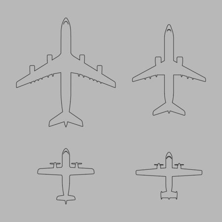 liners: Airplane icons collection. Outline aircraft shapes set. Jet and propeller airliners. Grey background with vector liners. Black line passenger airplane illustration.