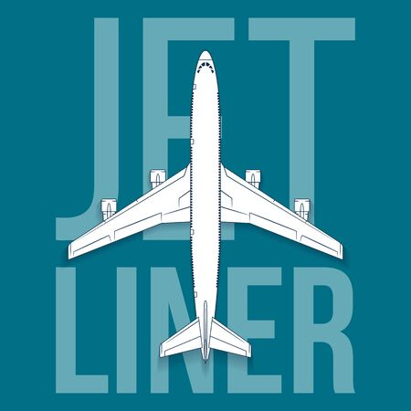 fuselage: Vector jet passenger isolated airplane. Top view big airliner design with sample text on blue background.