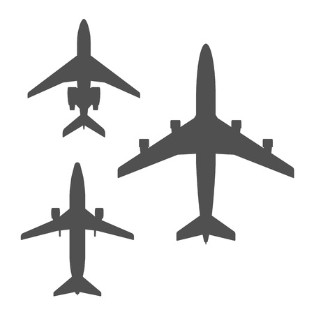 airliner: Dark grey top view airplanes vector icon set. Airliner isolated collection on white background.