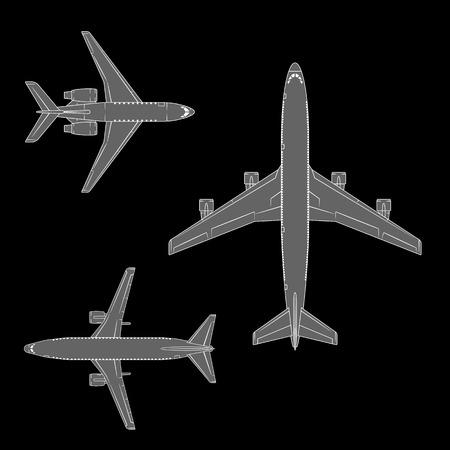 air liner: Modern airplane vector set on dark background. Aviation design collection. Illustration