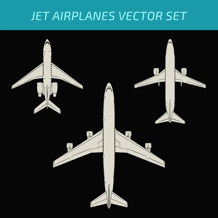 fuselage: Modern airplane vector set on dark background. Aviation design collection. Illustration