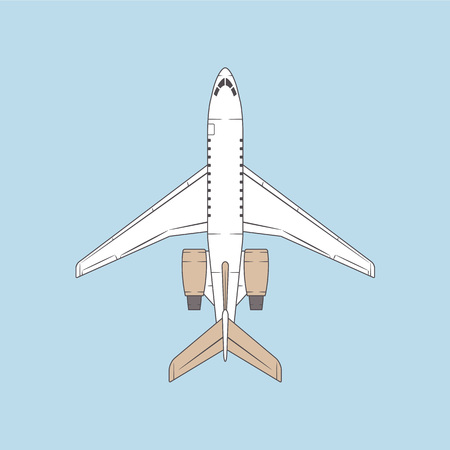 fuselage: Vector jet passenger isolated airplane. Top view business aircraft design.