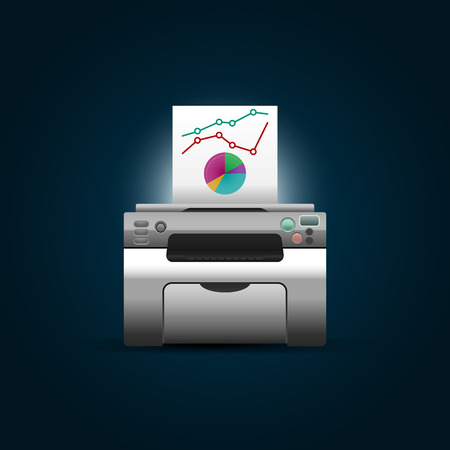 clerical: Vector printer with blank paper on dark blue background.