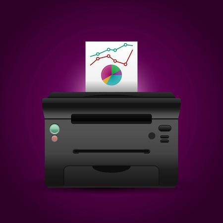 clerical: Vector printer with paper and color diagrams.