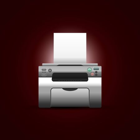 laser printer: Vector printer with blank paper on dark red background. Illustration