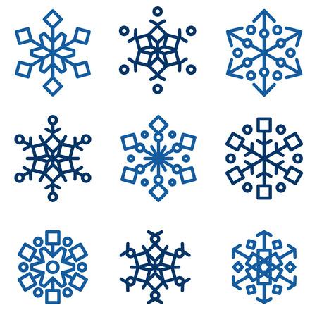 copo de nieve: Invierno conjunto de vectores de copos Vectores