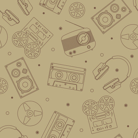 audio equipment: Audio equipment icons set. Sound accessories vector collection. Technology seamless pattern.