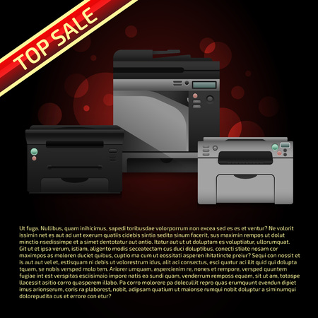 multifunction printer: Vector illustration with printers on dark brown background. Advertise template with sample text. Print equipment top sale page. Banner design.